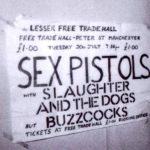 Plakát zvoucí na druhý koncert Sex Pistols v Manchesteru