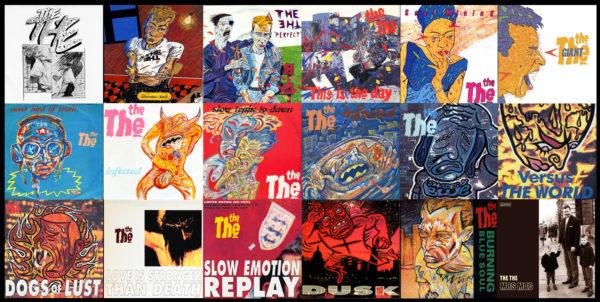Koláž s Andyho návrhy obalů desek kapely The The
