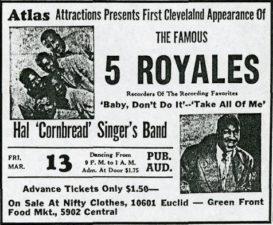 """Plakát na clevelandské vystoupení """"5"""" Royales v březnu 1953"""
