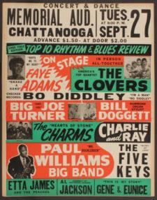 Plakát na velkou koncertní show 27. září 1955 v Chattanooze