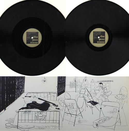 Ukázka etiket na gramodeskách a grafiky od jazzového ilustrátora Davida Stone Martina z box setu The Jazz Scene (1949, Mercury Records)