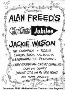 Plakát na show Alana Freeda Chriustmas Jubilee v losangeleském United Artists Theater v prosinci 1960