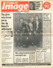 Public Image Ltd. a obal jejich debutového singlu se skladbami Public Image a Cowboy Song (1978, Virgin Records)