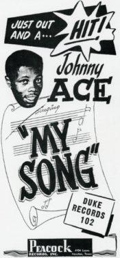 Novinová reklama ze srpna 1952 na Aceův hit My Song.