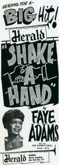 Reklamní sloupek ze srpna 1953 propagující singl Shake A Hand