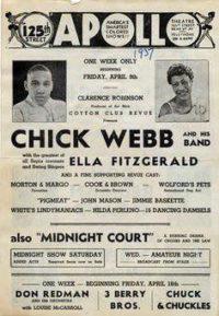 Reklama na koncert Webbova big bandu s Ellou Fitzgerald v newyorském Appolo Theatre v dubnu 1937