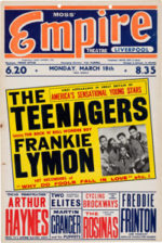 Plakát na liverpoolský koncert The Teenagers 18. března 1957