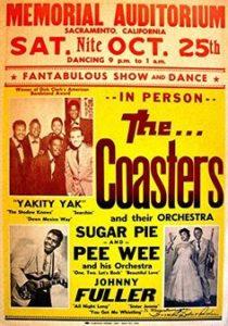 Plakát na koncert The Coasters 25. října 1958 v Sacramentu