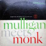 Obal prvního vydání Thelonious Monk And Gerry Mulligan: Mulligan Meets Monk (1957, Riverside Records)