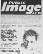 Plakát zvoucí na koncertní debut PiL v bruselském Theatre 140 ve středu 20. prosince 1978