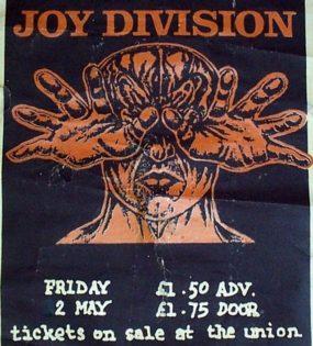Plakát na poslední koncert Joy Division (High Hall Birmingham University, 2. května 1980)
