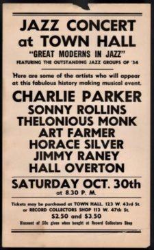 Plakát na Birdovo vystoupení 30. října 1954 v legendární newyorské Town Hall.