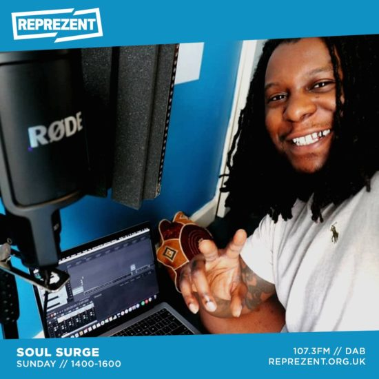 Upoutávka na vysílání verze pořadu Soul Surge připravené pro londýnskou rozhlasovou stanici Reprezent 107.3FM