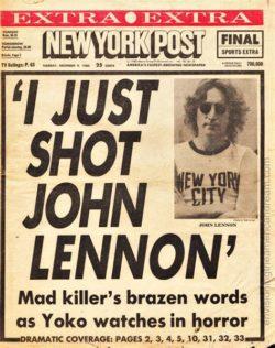 Zpráva o smrti Johna Lennona v New York Postu