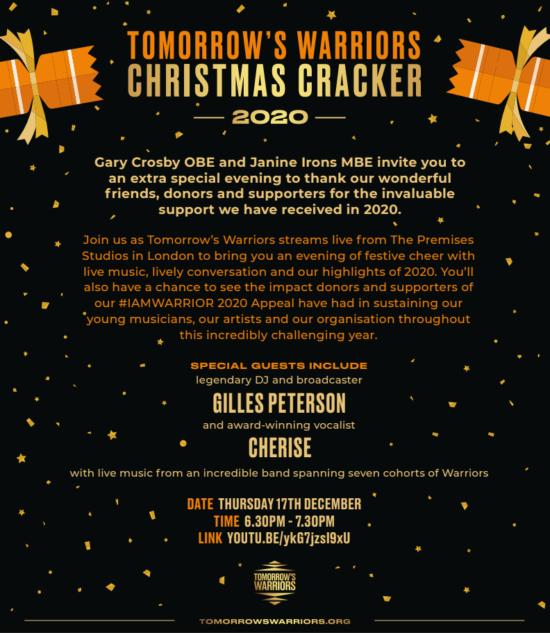 Plakát na Tomorrow's Warriors Christmas Cracker 2020