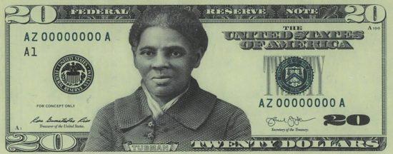 Návrh možné podoby přední strany dvacetidolarové bankovky s podobiznou Harriet Tubman