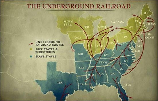 Mapa tzv. Podzemní železnice z období před vypuknutím Války Severu proti Jihu