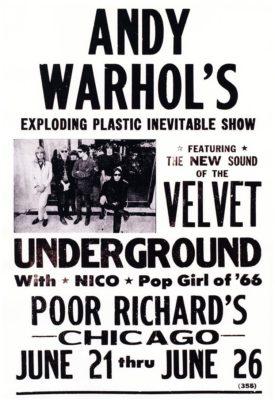 Plakát na představení Warholovy Exploding Plastic Inevitable Show v červnu 1966 v Chicagu