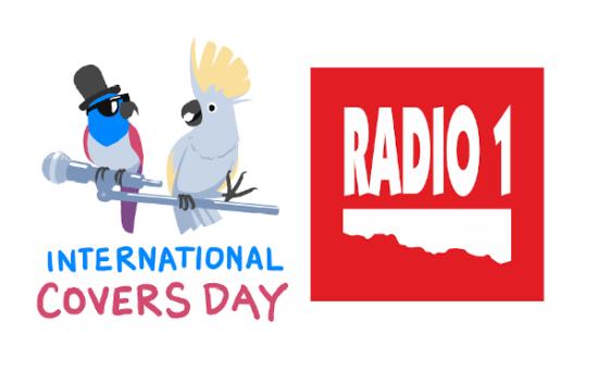 Loga International Covers Day (Ilustrace: Marek Pokorný, maara.eu) a rozhlasové stanice Radio 1